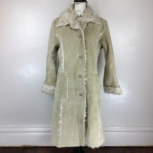 STEVE MADDEN Women's Faux Fur Snow Trench Coat